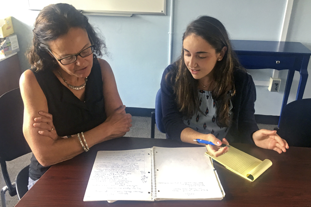 Anthropology professor Sarah Lamb conducting research with Gianna Petrillo