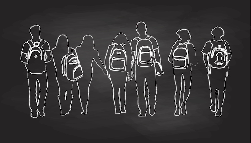 An illustration of students walking that is made to appear as though it was drawn on a chalkboard.