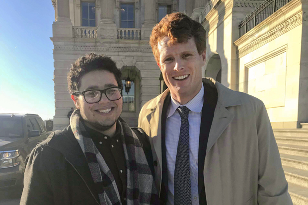 Elias Rosenfeld '20 with U.S. Rep. Joe Kennedy III in front of the Capitol.