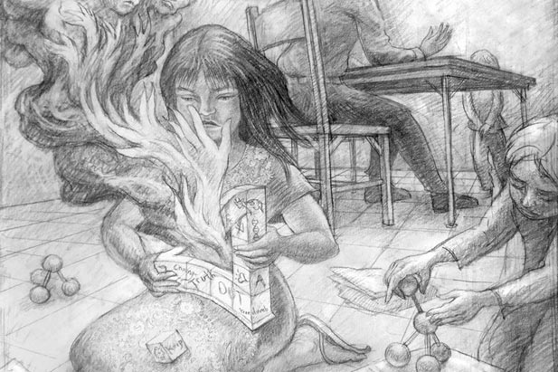 pencil drawing of a girl setting an object on fire