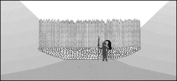 Illustration of Maya wall. The walls consisted of a row of wooden stakes resting on a stone foundation.