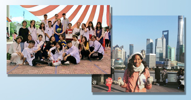 Left: Current Fulbright ETA Mia Katan with her Grade 12 History majors in Vietnam; Right: Minnie Norgaisse in Shanghai