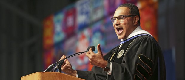 Freeman Hrabowski addresses the crowd during Commencement