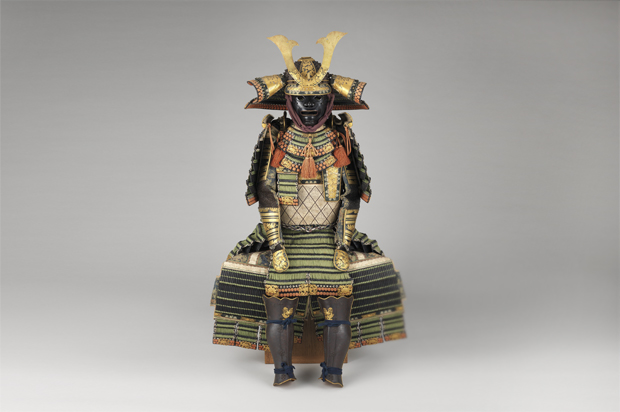 Decorative samurai armor that features deerskin.