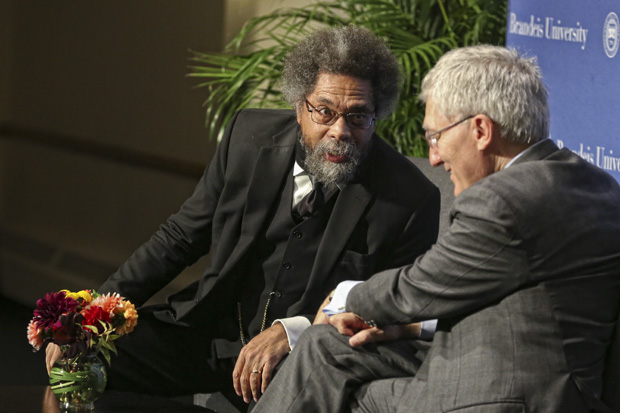Cornel West and Robert George between two ferns