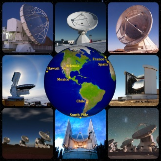 Telescopes involved in the Event Horizon Telescope project.