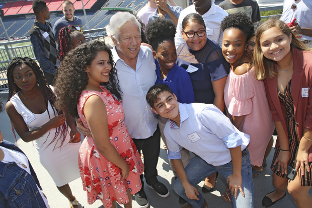 Myra Kraft Transitional Year Program students meet with Robert Kraft
