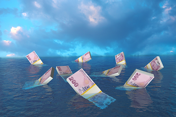 Turkish lira floating in water
