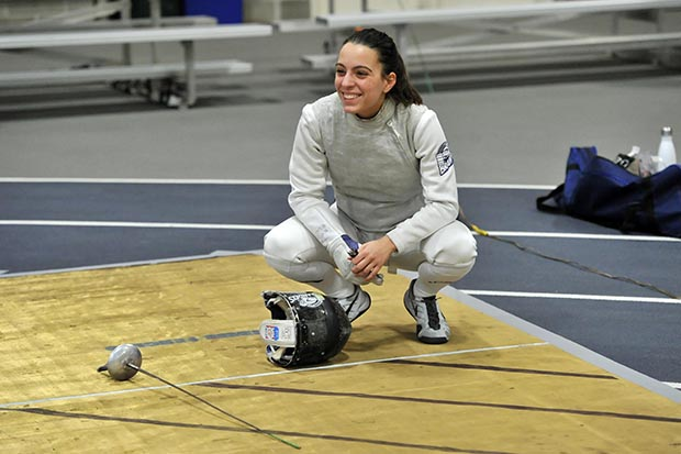 Joanne Carminucci in fencing attire