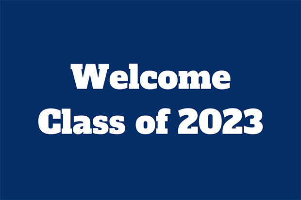 welcome message to Brandeis class of 2023 over blue background