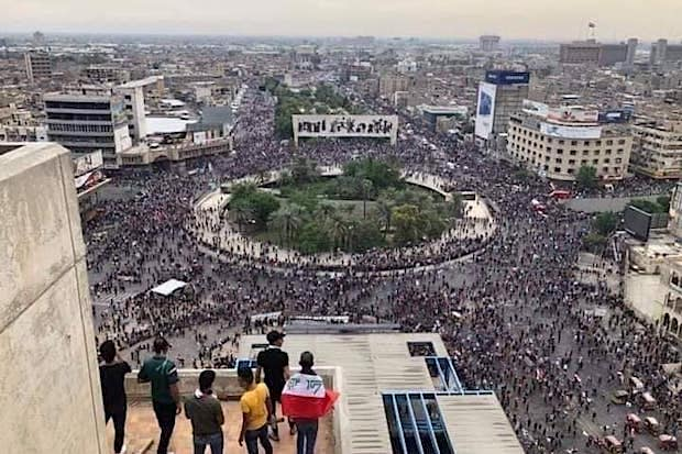 Iraqi protestors in Tahrir Square