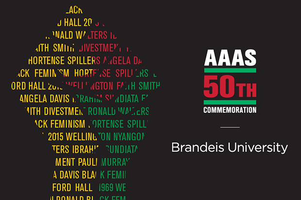 AAAS 50th commemoration graphic with a yellow, red, and green hand