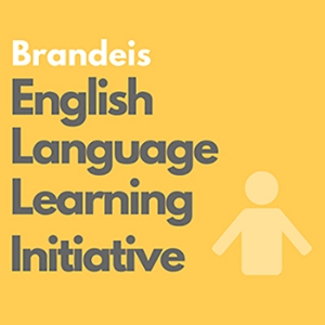 yellow logo of the Brandeis English Language Learning Initiative