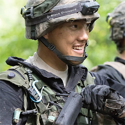 Sonor Sereeter '19 in a camouflage helmet and flack jacket
