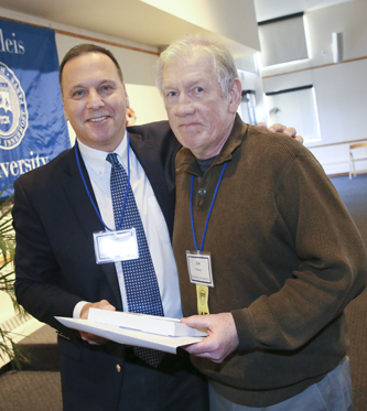 President Ron Liebowitz with Joe Fahey, who works in Dining Services, now Sodexo, the employee with the longest service to be recognized, with 45 years working at Brandeis