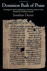Book cover: Dominion built of Praise by Jonathan Decter. Cover features ancient manuscript.