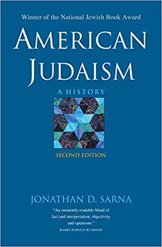 "The cover of Professor Jonathan Sarna's ""American Judaism"" second addition; blue with a quilted Star of David in the center"