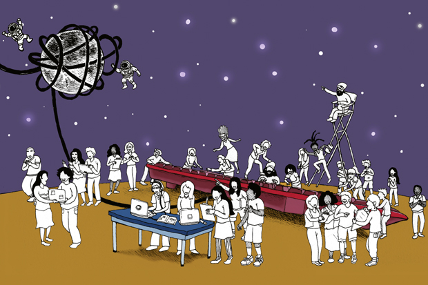 cartoon illustration of people using a giant keyboard, astronaut figures floating around a moon, and a man in a director's chair