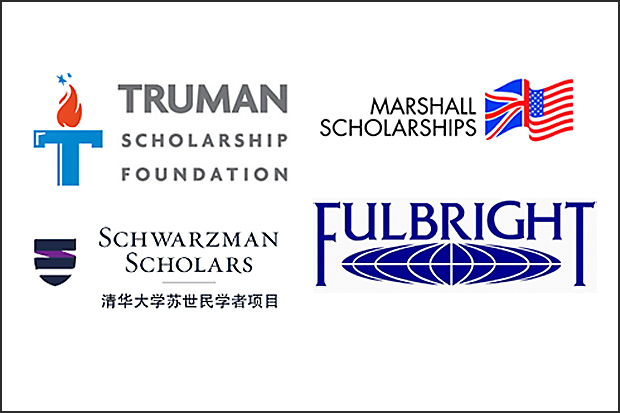 Logos for Truman, Fulbright, Schwartzman and Marshall scholarship programs.