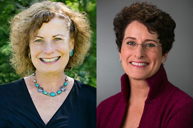 Headshots of Trustees Sylvia Neil (left) and Nancy Dreyer '72