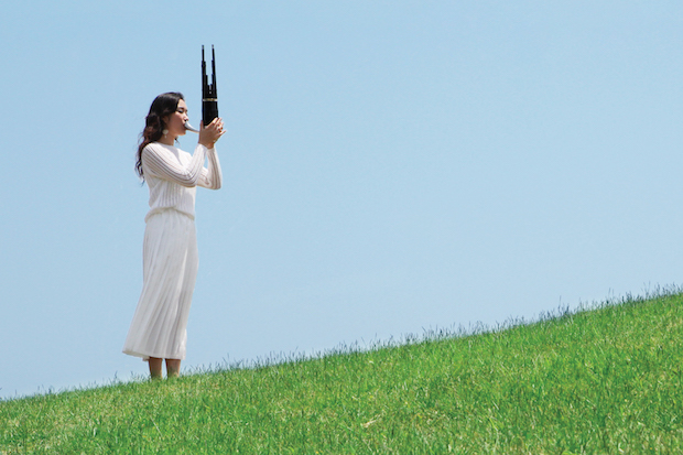 gamin playing a flute in a field.