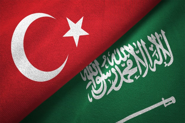 Flags from Turkey and Saudi Arabia