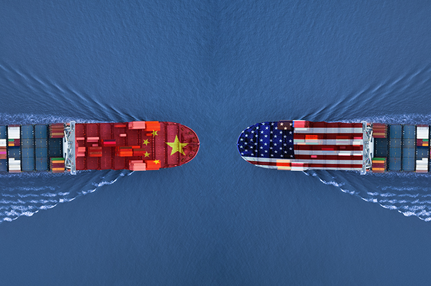 Illustration of container ships from US and China heading toward each other.