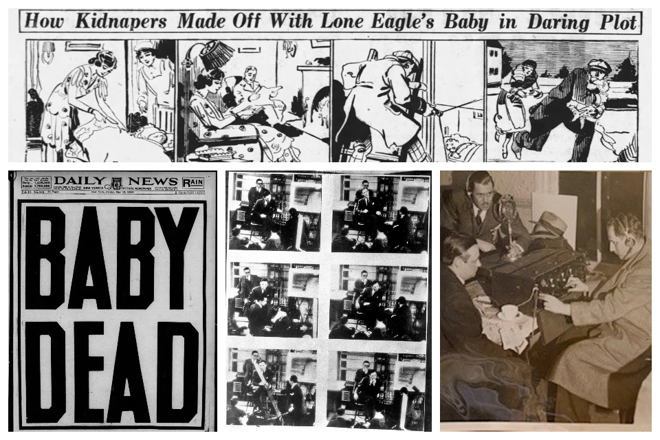 Collage of archival images related to Lindbergh case