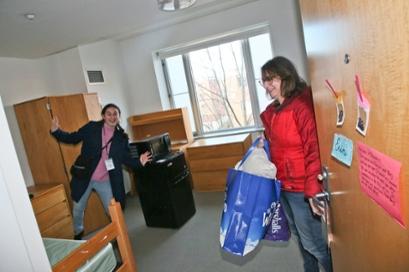 Alexandra Diener in her room with her mother