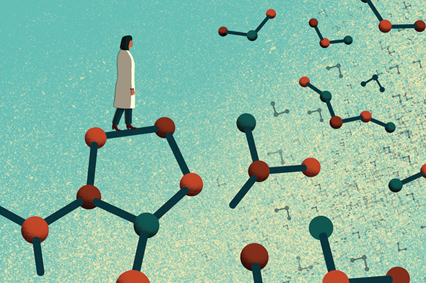 Illustration of scientist standing on pieces of molecules