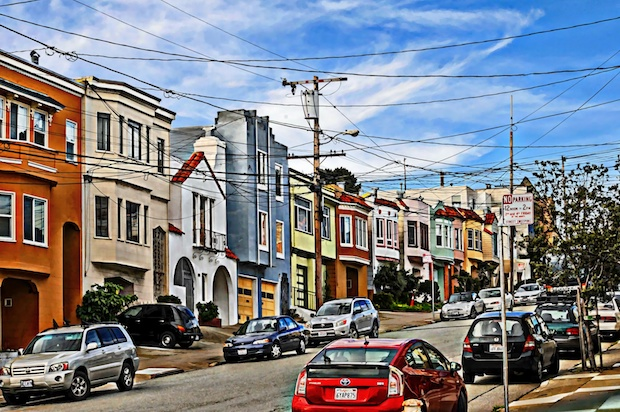 A row of homes in a San Francisco neighborhood