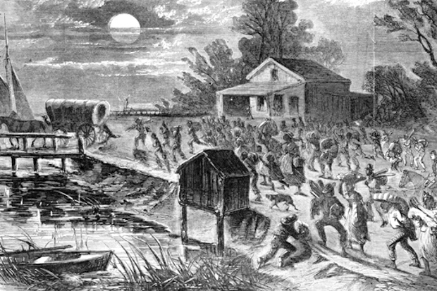 Sketch of African Americans fleeing the south in 1861
