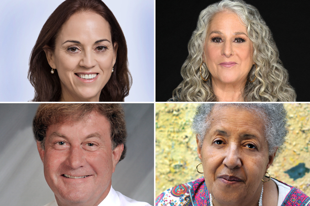 four headshots in a two-over-two arrangement, clockwise from left, Ruth Calderon, Marta Kauffman, Howardena Pindell and Allan Hassenfeld
