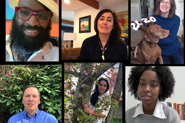 A mosaic of Brandeis faculty and staff offering well-wishes to graduating students