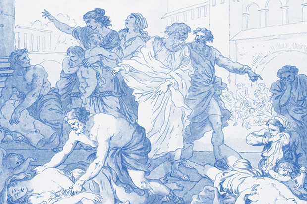 Drawing of plague scene in Athens.
