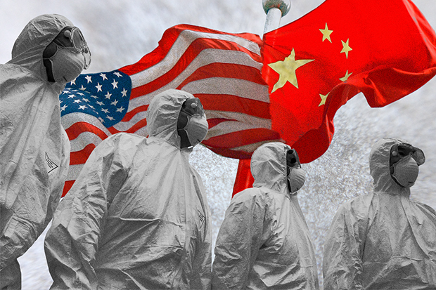 Illustration. Health workers with US and China flags behind them