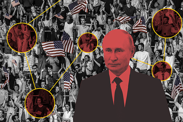 Illustration. Vladimir Putin in foreground, people and American flags in background.