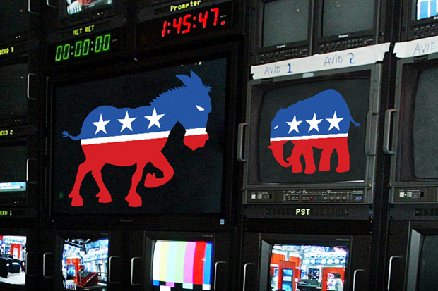 Donkey and Elephant icons on TV monitors