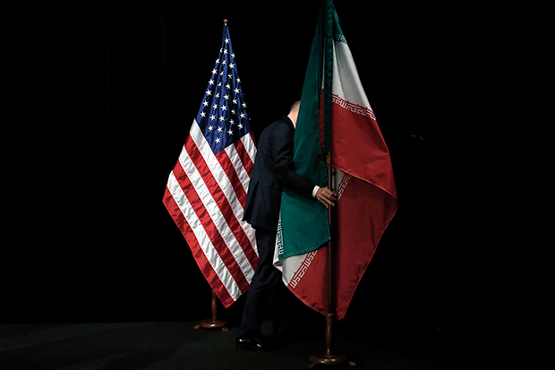US and Iranian flags next to each other
