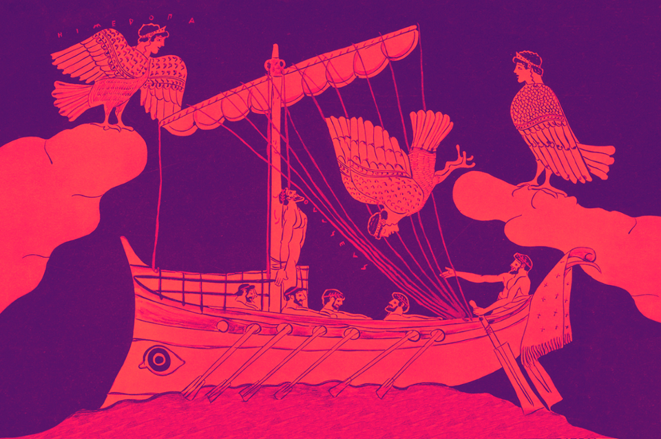 Illustration of a scene from the Odyssey
