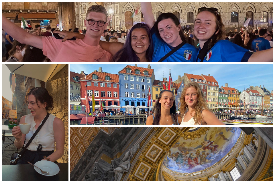 Images of students in Siena and Copenhagen
