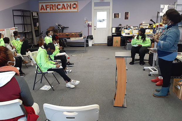 STUDENTS PARTICIPATING IN A DEBATE CLUB HELD BY AFRICANO IN FEBRUARY 2021.