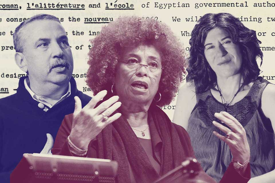 Illustration. Tom Friedman and Angela Davis in foreground.