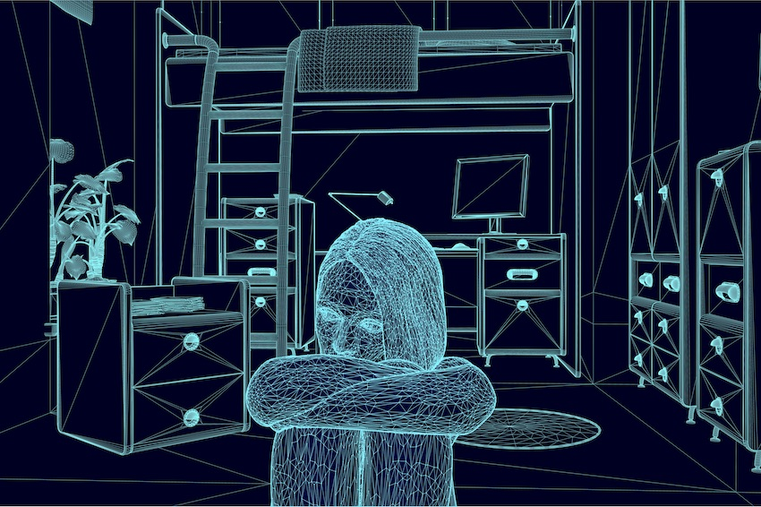 illustration of a person in a room with their arms folded