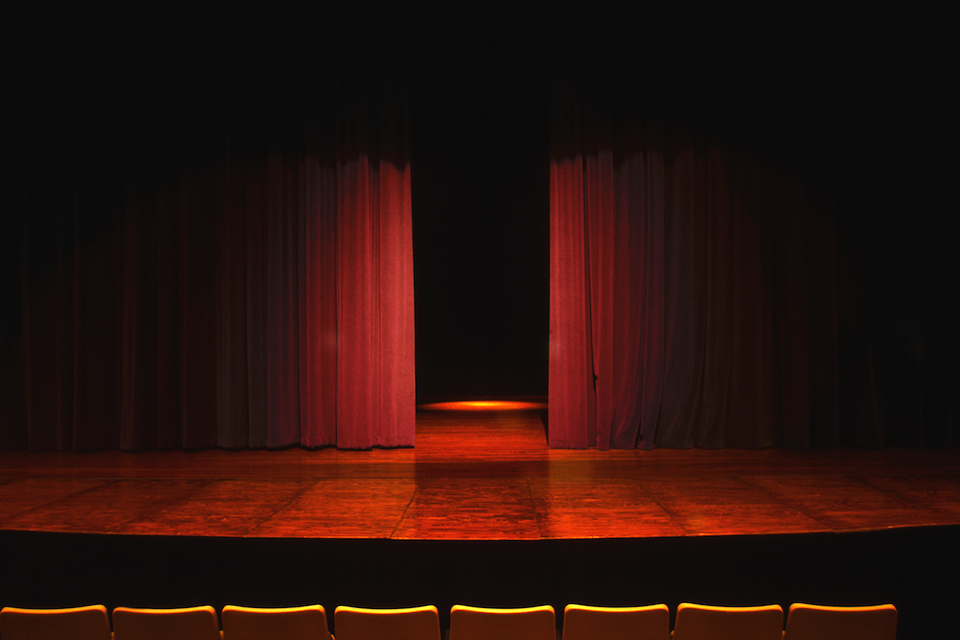 Stage in an empty theater