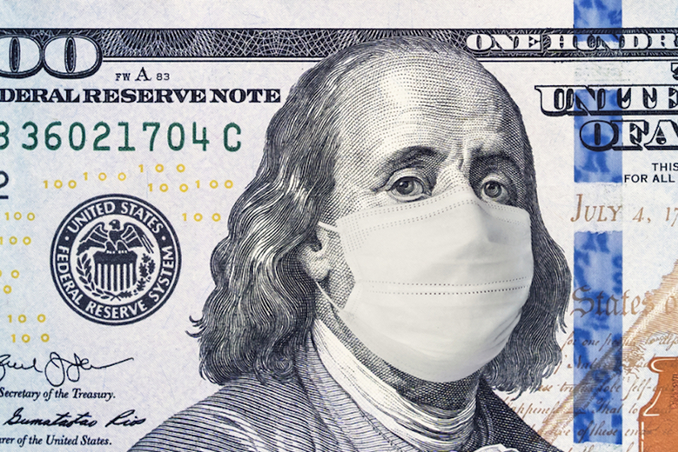 Illustration: a 100 dollar bill, with a surgeon mask imposed on Franklin's face.