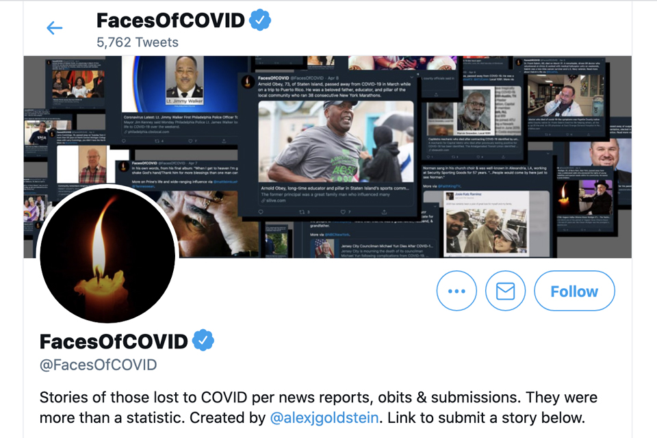 screenshot of faces of covid twitter account
