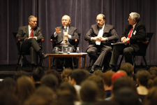 (L to R) Dan Terris, Richard Goldstone, Dore Gold and Ilan Troen during the forum's Q&A segment