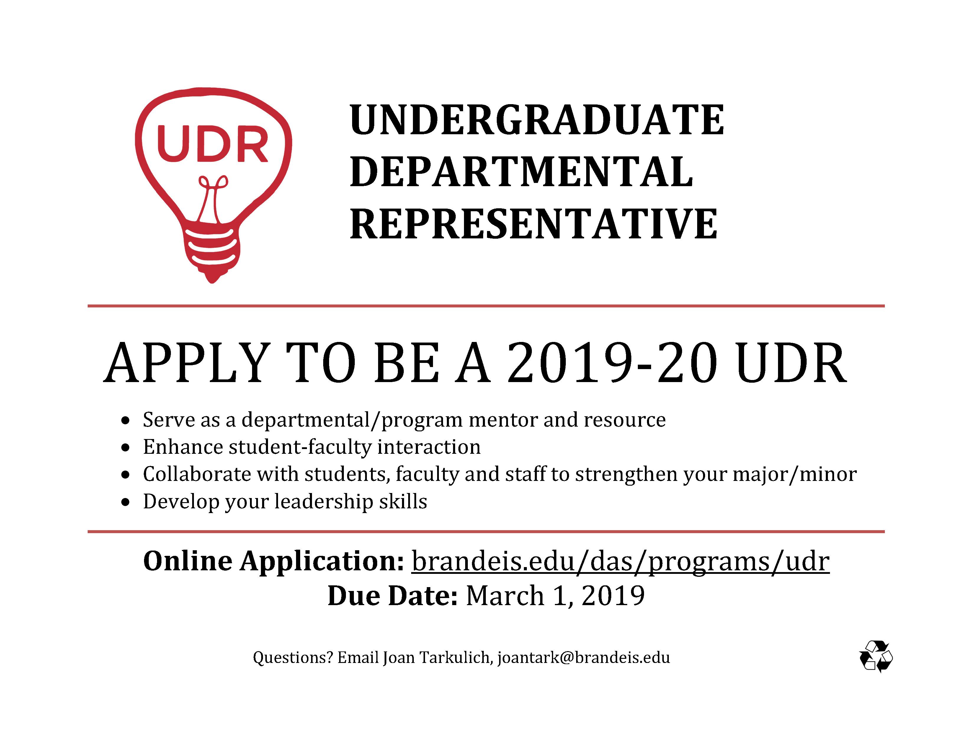 image of flyer for UDR application process