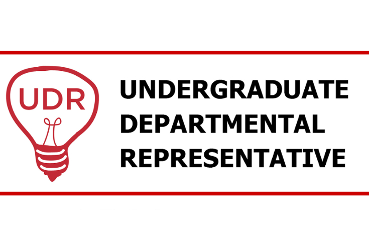 logo for UDR program. text says Undergraduate Departmental Representative, with image of lightbulb with UDR inside.